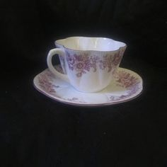 """Pretty scalloped, Shelley's """"Trailing Rose and Daisy"""" in mauve teacup and…"""