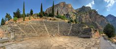 All the world's a stage - By Micah Goff - The ancient theatre at Delphi was built further up the hill from the Temple of Apollo giving spectators a view of the entire sanctuary and the valley below. It was originally built in the 4th century BC but was remodeled on several occasions since. Its 35 rows can seat 5,000 spectators. Delphi is both an archaeological site and a modern town in Greece on the south-western spur of Mount Parnassus in the valley of Phocis.