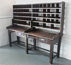 Oak And Steel Postal Desk