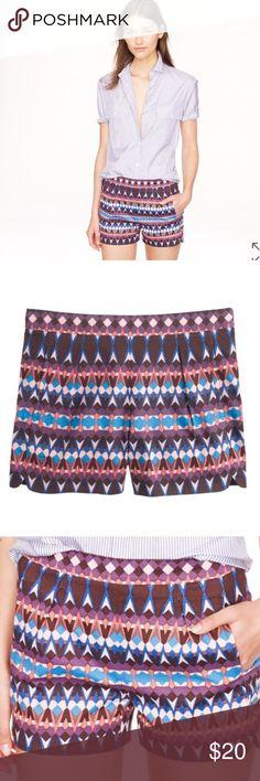 "J. Crew Cotton Pique Shorts Diamond Print sz 10 J. Crew Cotton Pique Shorts Diamond Print sz 10, back zipper, slant pockets, 97% cotton 3% spandex, measures approx 15"" waist laying flat 8"" rise, 2"" inseam. Style A6430. J. Crew Shorts"