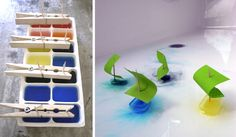 put food coloring in water, toothpicks with the sail held in with the clothes pins-ice it then play lasts depends on the water temp  cute