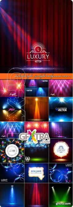 Colorful light spotlight background vector 4