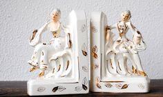 Vintage Bookends, White Gold Gilt Ornate Victorian Era Romantic Couple Musicians, Rare Royal Sealy Figurine Statue Set