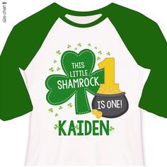 First birthday shirt Irish shamrock personalized any age birthday raglan shirt - perfect for St. Patrick's Day birthdays