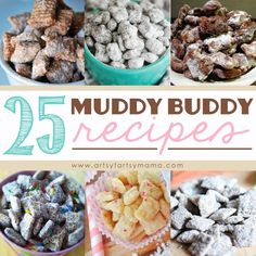 25 Muddy Buddy recipes - also known as Puppy Chow! Puppy Chow Recipes, Chex Mix Recipes, Snack Recipes, Dessert Recipes, Cereal Recipes, Köstliche Desserts, Delicious Desserts, Yummy Food, Yummy Yummy