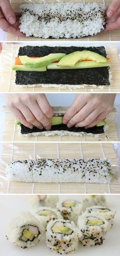 Sushi Rolls For Your Holiday Party Is Easy!, Making Sushi Rolls For Your Holiday Party Is Easy!, Making Sushi Rolls For Your Holiday Party Is Easy!, Sushi Roll Without a Sushi Mat Easy Sushi Rolls, Making Sushi Rolls, Easy Rolls, Veggie Sushi Rolls, Homemade Sushi Rolls, Rolls Rolls, Avocado Rolls Sushi, Making Sushi At Home, Home Made Sushi