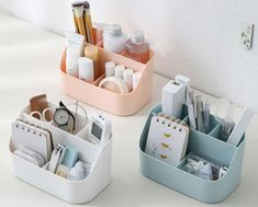 Desktop Multi-compartment Storage BoxCheck out this Desktop Multi-compartment Storage Box on Romwe and explore more to meet your fashion needs! Dorm Room Organization, Desktop Organization, Organization Hacks, Bathroom Product Organization, Organization Ideas For Bedrooms, Dorm Room Storage, Storage Hacks, Storage Boxes, Study Room Decor