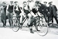London Olympics 1908: France's M. Schilles and A. Auffray, who won the gold medal in the 2000-meter tandem race.