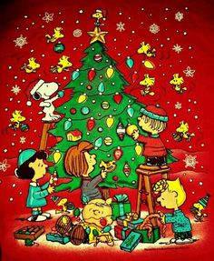 Christmas - Charlie Brown & The Peanuts Gang - Decorating the Christmas Tree with Snoopy and the Gang. Snoopy Feliz, Snoopy Et Woodstock, Charlie Brown Und Snoopy, Peanuts Christmas, Charlie Brown Christmas, Noel Christmas, Vintage Christmas, Xmas, Christmas Cartoons