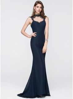 Trumpet Mermaid Scoop Neck Sweep Train Chiffon Prom Dress 018093873 g93873