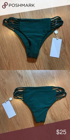 Mikoh Swimsuit Swim bottoms only. New with tags, hygiene liner attached. Lanai bottoms. Forest/Dark green color. 80% nylon / 20% lycra. Mikoh Swim Bikinis
