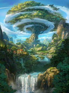 """""""Miners Settlement Splash Art"""" by Florian Moncomble Concept Art Landscape, Fantasy Concept Art, Fantasy Art Landscapes, Fantasy Artwork, Landscape Art, Beautiful Landscapes, Fantasy City, Fantasy Places, Fantasy World"""