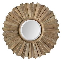 Natural washed wood pieces make up the round frame of the stunning Kendra Mirror. From Ren-Wil Convex Mirror, Wood Mirror, Mirror Mirror, Wood Wall, Decorative Accessories, Home Accessories, Circular Mirror, Glass Center, Round Mirrors