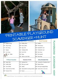 Challenge the kids to find each type of play equipment when you visits different playgrounds this summer!