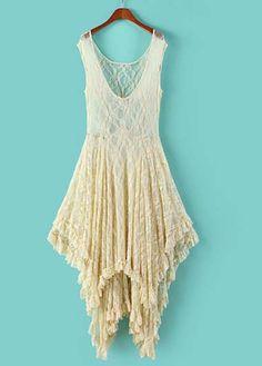 White Round Neck High Low Hem Lace Dress | Rosewe.com