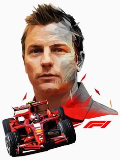 'Kimi Raikkonen low poly II' Photographic Print by pxlG Ferrari Scuderia, Ferrari F1, F1 Motorsport, F1 Drivers, F1 Racing, Low Poly, Formula One, Grand Prix, Race Cars