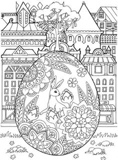 Nice Little Town Easter Adult Coloring Book By Tatiana Bogema