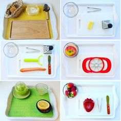 Montessori food preparation ideas for practical life at home.