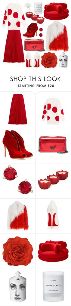 """Red + White"" by cherieaustin ❤ liked on Polyvore featuring Balenciaga, MSGM, Gianvito Rossi, Akris, Kate Spade, D.L. & Co., Saks Potts, Christian Louboutin, Fornasetti and Byredo"
