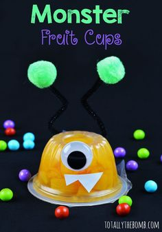 Your Own Monster Fruit Cups I love these Monster Fruit Cups using Monte peaches! Such a cute way to Click now!I love these Monster Fruit Cups using Monte peaches! Such a cute way to Click now! Monster Party, Monster Birthday Parties, First Birthday Parties, 2nd Birthday, First Birthdays, Monster Snacks, Birthday Ideas, Monster Food, Monster Crafts