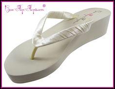 Bridal Flip Flops Ivory White Wedge Womens Wedding Platform Satin Flip Flops