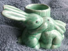 SYLVAC ART DECO GREEN KISSING BUNNIES RABBITS SPILL MATCH HOLDER POSY VASE 1590 | eBay