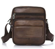 Men's Vintage Genuine Cow Leather Brown Shoulder Messenger bag Satchel Bags New