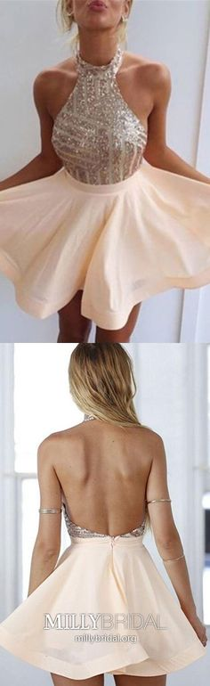 Cute A Line Halter Backless Sequined Peach Short Homecoming Dresses, Short Prom Dresses - Evening Dresses and Fashion Backless Homecoming Dresses, Cheap Short Prom Dresses, Hoco Dresses, Ball Dresses, Pretty Dresses, Sexy Dresses, Beautiful Dresses, Fashion Dresses, Women's Fashion