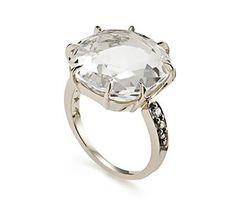Anel de Ouro Nobre 18K com cristal de rocha e diamantes cognac - Coleção Moonlight