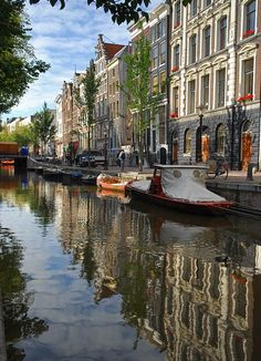 Classic canal view in Amsterdam, Netherlands