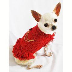 Michael Jackson Dog Jacket Red Layered Cotton Crochet por myknitt