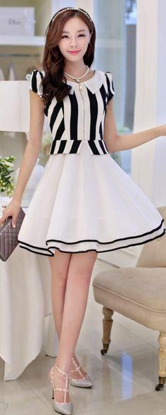 Chiffon A-line Stripe Dress with Layered Skirt Cute Fashion, Asian Fashion, Skirt Fashion, Fashion Models, Modest Fashion, Fashion Dresses, Womens Fashion, Cute Dresses, Short Dresses