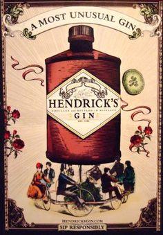 Hendrick's Gin Original AD Poster * MOST UNUSUAL GIN * Big Wheel Bicycles 2' x 3' NEW 2010 Rare