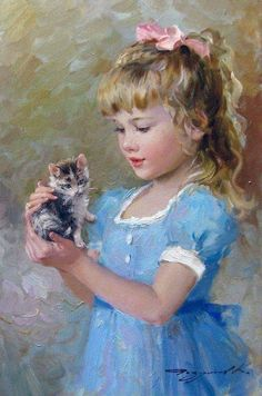 Art by Konstantin Razumov This reminds me of when I was a little girl with my Grandma's kitty's