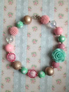 Little girls chunky necklaces, adorable! Chunky Bead Necklaces, Bubble Necklaces, Chunky Jewelry, Chunky Beads, Girls Necklaces, Beaded Jewelry, Handmade Jewelry, Beaded Necklace, Little Girl Jewelry