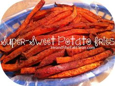 "1. Preheat oven to 400 degrees 2. Slice sweet potatoes into ""fries"" (we use a vegetable chopper) 3. Place sliced sweet potatoes on a cookie sheet (in one layer) 4. Melt coconut oil in microwave 5. Drizzle sweet potatoes with coconut oil and cinnamon 6. Bake for 15-20 minutes 7. Flip sweet potatoes and bake for another 15-20 minutes"