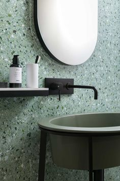 Can You Handle This Trend? - Terrazo - In case you didn't notice, the 'terrazzo' design trend is making a huge comeback this year, and we are already in love wi Bathroom Trends, Bathroom Sets, Small Bathroom, Bathroom Black, Master Bathrooms, Bathroom Mirrors, Remodel Bathroom, Farmhouse Bathrooms, Bathroom Canvas