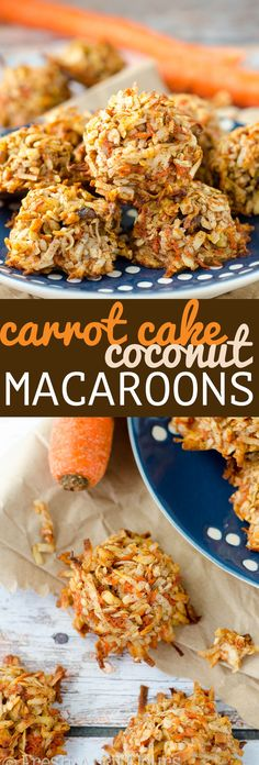 Carrot Cake Coconut Macaroons: Crispy on the outside, moist and chewy on the inside, these easy coconut macaroons are filled with all of the flavors and warm spices of carrot cake.