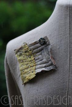 Brooch pin fiber art brooch hand made hand by sassafrasdesignl