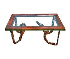 "Welded Chain Art   Welded Chain Link, 1"" Angled Steel, Walnut"