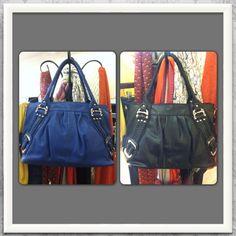 """Melie Bianco """"Emma"""" bag in blue and black - Details Boutique $135"""