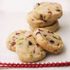 Pistachio Cranberry Icebox Cookies- These would be good with white chocolate chips in them too!