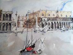 """""""Venecia, el Palacio del Dux"""". Acuarela y tinta sobre papel (década de los 80) • """"Venice, the Doges Palace"""""""