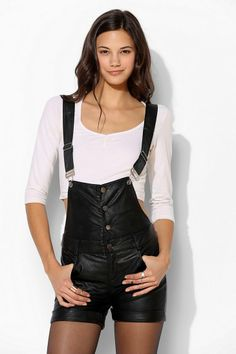Sparkle & Fade Vegan Leather Overall Short #urbanoutfitters