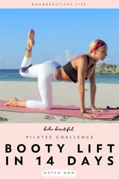 This Boho Beautiful booty challenge is a 14 day challenge to tone and lift your butt. You can use this lower body class as a quick 10 minute workout. Pilates Workout Videos, Pilates Reformer Exercises, Yoga Videos, Pilates Poses, Cardio Pilates, Pop Pilates, Pilates For Beginners, Beginner Pilates, Beginner Workouts