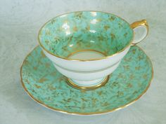 Vintage Teacup and Saucer in Mint Green with Gold Chintz, Antique Tea Cup and Saucer in Green and Gold