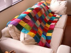 colourful knit afghan. love.