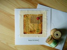 Teabag art hand stitched birthday card by BluePebbleStudio on Etsy