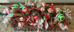 Christmas Centerpiece-Table Centerpiece-Christmas Decor-Elf Centerpiece-Elf decor-Deco Mesh Centerpiece- by BamaBelleWreaths on Etsy