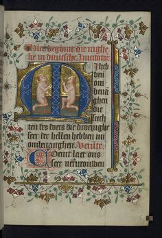Illuminated manuscript, Book of Hours in Dutch, Two souls kneel in prayer in…